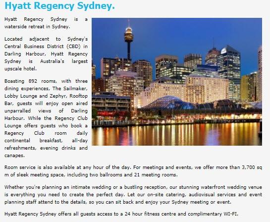 HYATT Regency Sydney - Darling Harbour - Hyatt